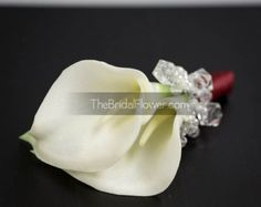 White rosebud boutonniere with crystals and by TheBridalFlower