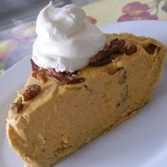 "Pumpkin Pecan No-Bake Cheesecake Pie | ""This recipe was amazing! I made my own crust which really makes a big difference and a more homemade taste!"""