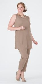 Plus size Box 2 taupe vest and narrow trouser