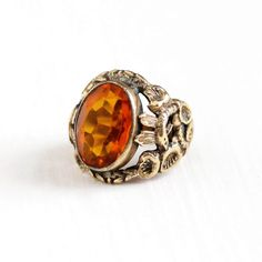 Sale - Vintage Art Deco Simulated Citrine Floral Snake Ring - 1930s Size 4 1/2 Orange Stone Figural Serpent Flower Costume Statement Jewelry by Maejean Vintage on Etsy