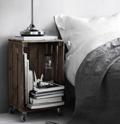 44 Genius IKEA Bedroom Hacks You'll Love :: a stained Knagglig box placed on casters as a bedside table Bedroom Hacks, Ikea Bedroom, Home Bedroom, Bedroom Decor, Ikea Crates, Ikea Boxes, Diy Interior, Interior Design, Interior Decorating