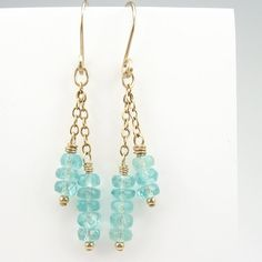 Aqua Blue Apatite Gold Earrings, 14k Gold Filled Chain, Hand-Forged Ear Wires - Ozmay Designs