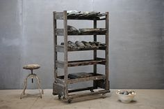 industrial  - make from salvaged metal shelf and crates