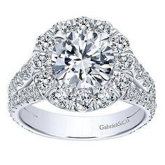 DIAMOND ENGAGEMENT RINGS - 18K White Gold 2cttw Split Shank Halo Diamond Engagement Ring
