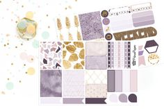 Planner Stickers Weekly Kit Purple and Gold Fall Stickers for your Erin Condren…