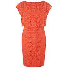 Buy Adrianna Papell Medallion Lace Blouson Dress, Tangerine Online at johnlewis.com