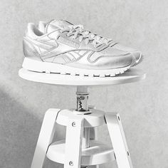 Reebok Classic Silver Trainers ❤ liked on Polyvore featuring shoes, sneakers, silver trainers, reebok shoes, reebok, silver sneakers and reebok trainers