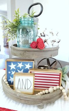 Stars and Stripes mini sign bundle now available in the etsy shop🇺🇸⭐🇺🇸⭐ . Fourth Of July Decor, 4th Of July Decorations, July 4th, Seasonal Decor, Fall Decor, Happy Birthday America, Tiered Stand, July Crafts, Happy 4 Of July
