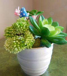 Faux Succulent Arrangement Tiny Plants Small by NauticoCreations