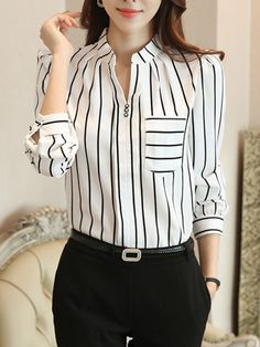 Split Neck Patch Pocket Striped Blouse Find latest women's clothing, dresses, tops, outerwear, and other fashion clothing and enjoy the worldwide shipping # Bluse Outfit, Cheap Womens Tops, Vetement Fashion, Blouse Styles, Fashion Outfits, Fashion Trends, Fashion Blouses, Ladies Fashion, Womens Fashion