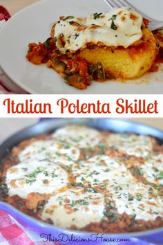 Delicious and healthy Italian Polenta Skillet is a fun weeknight dinner that's ready fast. Made with lean ground turkey meat and veggies, it's the perfect dinner that everyone will love. #tubedpolenta #polentaskillet