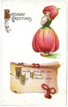 Tulip girl vintage birthday card
