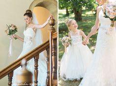 Bride and flowergirl | #EnzoaniRealBride Cara in #Enzoani Diana wedding dress | Amanda Donaho Photography
