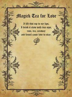 Magick Tea for Love for homemade Halloween Spell Book. Witchcraft Spell Books, Magick Spells, Wicca Witchcraft, Wiccan Altar, Halloween Spell Book, Halloween Spells, Witch Board, Magic Symbols, Witch Spell