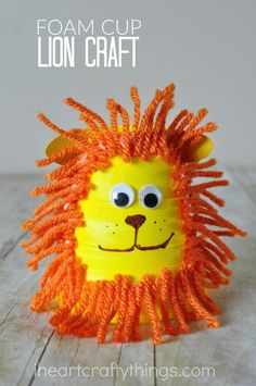foam-cup-lion-craft Animal Crafts For Kids, Summer Crafts For Kids, Animals For Kids, Projects For Kids, Diy For Kids, Summer Kids, Wild Animals, Lion Craft, Snail Craft