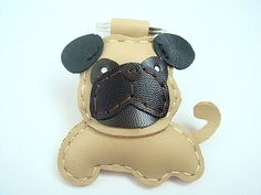 Bobby the Pug Leather Keychain  Light Brown  by leatherprince, $20.90