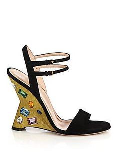 Gucci Engel Jeweled Suede Evening Sandals