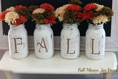 Fall Mason Jar Vases. DIY mantle Thanksgiving decorations. Easy to coordinate for Christmas, Easter, Valentines Day & themed birthday parties.