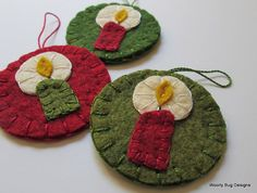 Christmas Candles Set of 3 Wool Felt Ornaments