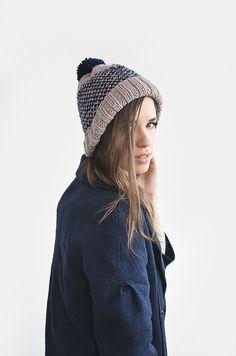 Thinking of winter // Fair isle two colored ski beanie hat with pom pon / by Plexida, €18.00