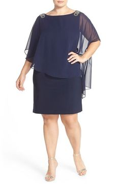 Xscape Embellished Chiffon Overlay Jersey Dress (Plus Size) available at…