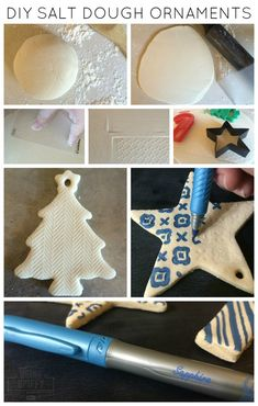Easy and Cheap Salt Dough Ornament Ideas for Holiday Moments 6 Clay Christmas Decorations, Diy Christmas Ornaments, Christmas Projects, Holiday Crafts, Holiday Fun, Homemade Ornaments, Holiday Ideas, Salt Dough Crafts, Salt Dough Ornaments