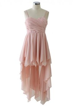 Pink 3D Flower Asymmetric Waterfall Prom Dress