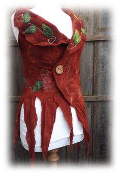 Copper Brown Woodland Vest  Fairy vest  goddess vest  by folkowl, $180.00
