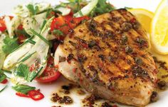 Chargrilled Swordfish with Fennel and Tomato, with Herb Salad. You can omit the capers from the marinade, and scatter some warmed black olives over the fish just before serving for a tasty variation. #30MinuteMeals