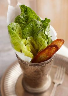 Individual Caesar Salad Serving Love this idea for an elegant dinner party. in silver mint julep cups. Good Food, Yummy Food, Tasty, Salad Presentation, Elegant Dinner Party, Le Diner, Food For Thought, Appetizer Recipes, Appetizers