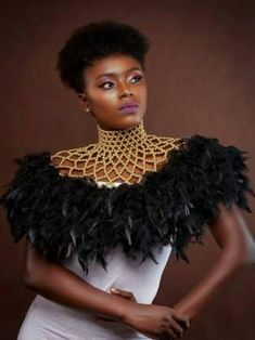 African Necklace , body Jewellery , feathers , beaded necklace By Diyanu Diy African Jewelry, African Accessories, African Necklace, Jewelry Accessories, African Wear, African Attire, African Dress, Afro, African Inspired Fashion