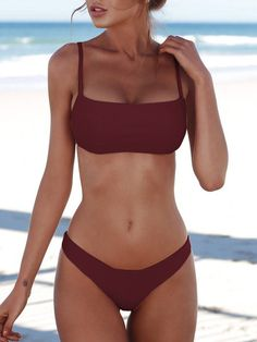 Burgundy Spaghetti Padded Design Bikini Set Swimwears