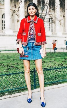 Red cropped jacket, denim embroidered mini, and blue pointed heels.