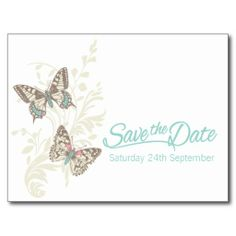 Butterflies teal white cream save the date card post cards. Art and design by www.sarahtrett.com