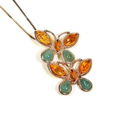 Baltic Amber and Jade Butterfly Pendant by VintageMeetModern