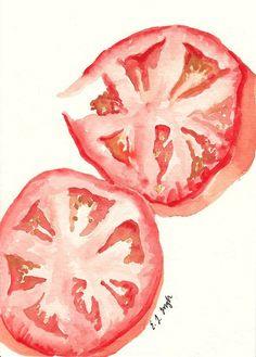Vegetable Kitchen Art Red Tomato Slices by GrowCreativeShop