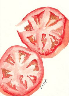 Vegetable Kitchen Art Red Tomato Slices by GrowCreativeShop