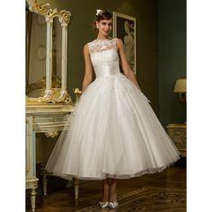 A-line Jewel Ankle-length Tulle Wedding Dress