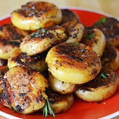 Crispy-Outside Creamy-Inside Garlic Herb Potatoes. Quite possibly the BEST POTATOES / SIDE DISH EVER. (Note from @w_adogbymyside pinner: Make sure you use baby potatoes and nothing larger, as the recipe might not turn out. I tried this with larger potatoes than called for, and they fell apart. They were still really tasty, but they weren't something you could pick up with your hand.)