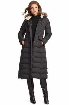 Lauren Ralph Lauren Faux Fur Trim Hooded Long Down & Feather Fill Coat