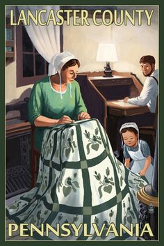 Lancaster County, Pennsylvania - Amish Quilting Scene - Lantern Press Poster