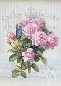 rosas cafes y legumes decoupage postal frances Rare Vintage French- Shabby Chic Instant Art Free Printable ! Just frame and Hang ! Shabby French Chic, Shabby Chic Pink, Shabby Chic Mode, Shabby Chic Vintage, Style Shabby Chic, Shabby Chic Bedrooms, Shabby Chic Kitchen, Vintage Diy, Shabby Chic Furniture