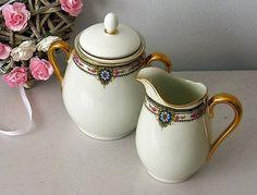 Sugar Bowl and pot cream porcelain Shabby chic by VintageSyell