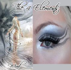 """Shimmering blue and white """"flowing"""" eye shadow with small crystal accents inspired by """"Wind"""" of """"The 4 Elements""""."""