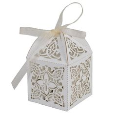Baptism or Christening First Communion Elegant Decorative Cross White Favor Boxes (Pkg of 25)