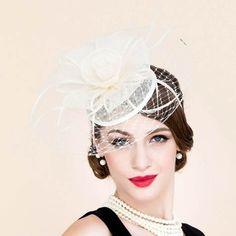 ffc1572065a Beige flower pillbox hat with veil for ladies summer linen fascinator hats