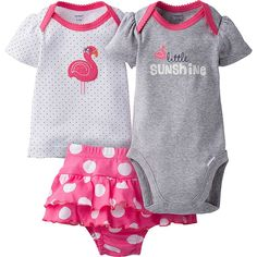 When the warmer weather arrives, it's time for outdoor adventures! This girls' 3-piece set gets her ready to greet springtime in style! This set comes with a Onesies® brand short sleeve bodysuit, shirt, and shorts. Adorable designs make it fun! Smart design features, like the expandable lap shoulder neckline, makes life easier for mom. Ideal for gift giving!