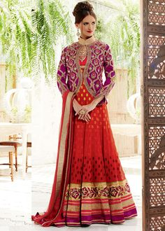 Pink and Red Georgette Abaya Style Salwar Kameez With Jacket Style Online Shopping : 434SL02