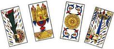 Les cartes mineures du tarot de Marseille : coupes, bâtons, deniers et épées.