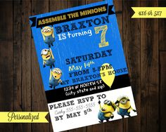 Minion Birthday Invitation - Minion Invitation - Minion Birthday by PurplePalaceDesigns on Etsy